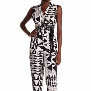 Tracy Reese Geometric black and white jumpsuit: SM